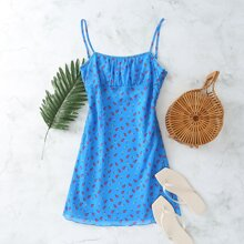 Ditsy Floral Ruched Bust Mini Cami Dress