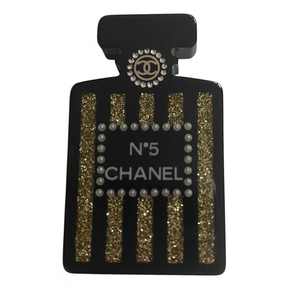 Broche Baroque en Plastico Negro Chanel