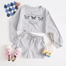 Girls Drop Shoulder Butterfly and Slogan Print Pullover & Shorts Set