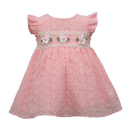 Bonnie Jean Eyelet Baby Girls Short Sleeve Floral A-Line Dress, 18 Months , Pink