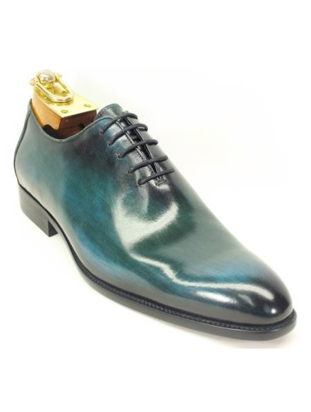 Carrucci Men's Lace Up Genuine Calfskin Leather Olive Oxford Shoes