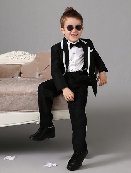 Milanoo Traje de niño de bodadel portador del anillo blanco  Chaqueta Pantalones Camisas Pajarita  Formal 4 Piezas