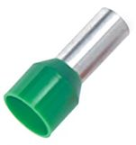 RS PRO Insulated Crimp Bootlace Ferrule, 10mm Pin Length, 3.9mm Pin Diameter, 6mm² Wire Size, Green (100)
