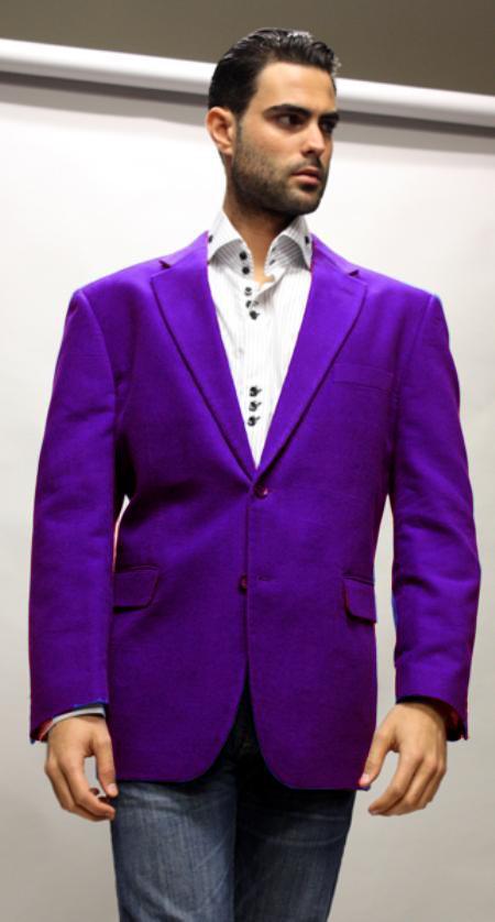 Dark Purple Supers Velvet Fabric Sport Coat