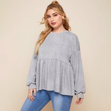 Plus Drop Shoulder Ruffle Hem Sweatshirt