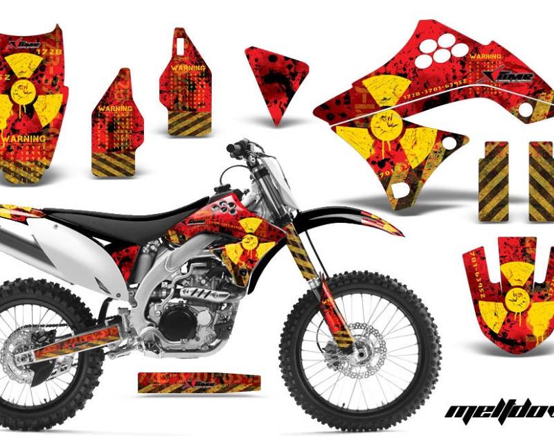 AMR Racing Dirt Bike Decal Graphics Kit Sticker Wrap For Kawasaki KXF450 2009-2011áMELTDOWN YELLOW RED