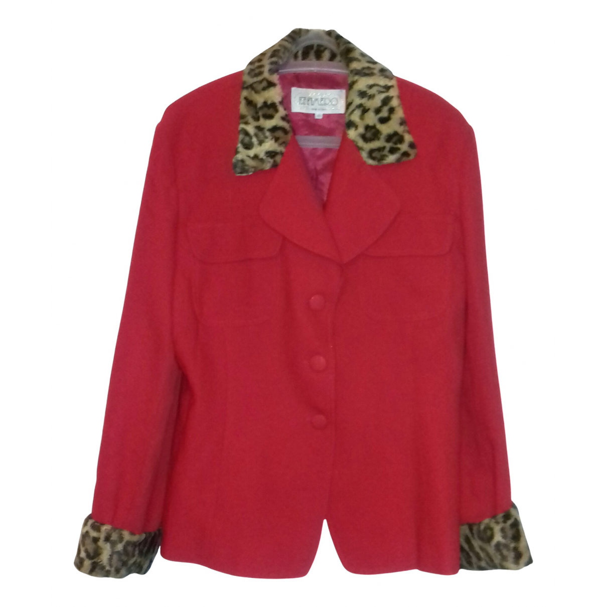 Non Signé / Unsigned N Red Wool jacket for Women 48 IT