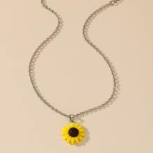 Halskette mit Sonnenblumen Anhaenger