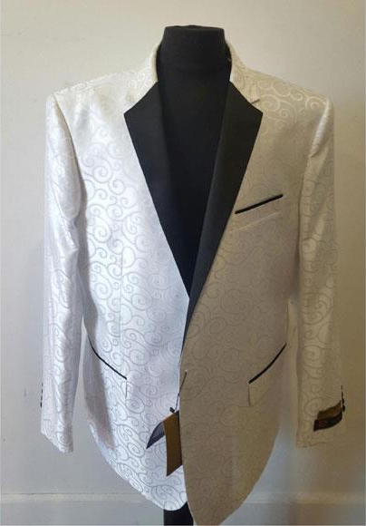 Floral Sportcoat Paisley Jacket Shiny Fashion White Blazer