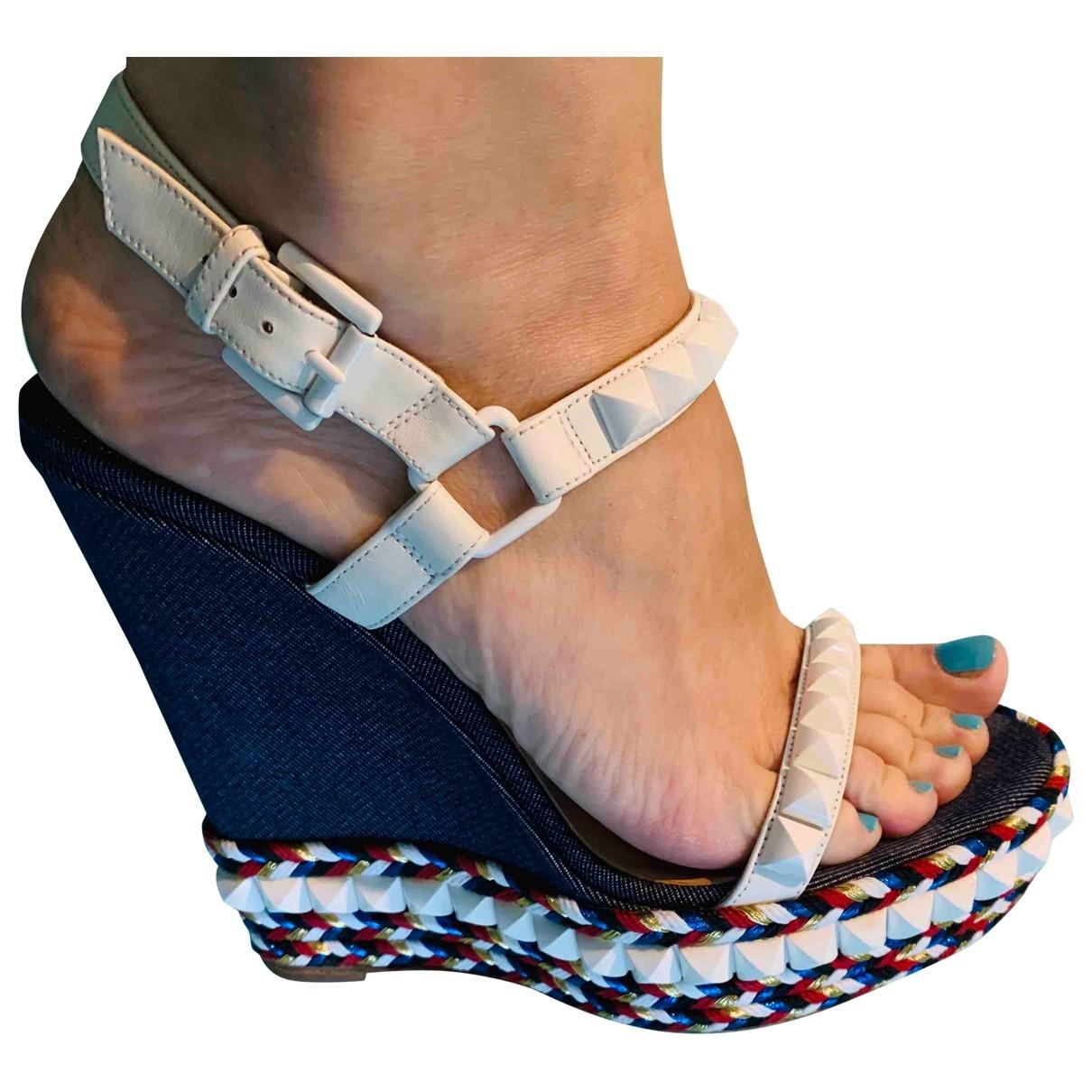 Christian Louboutin Cataclou Blue Cloth Sandals for Women 39 EU
