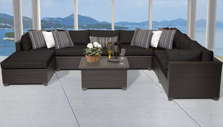 Belle Collection BELLE-09b-BLACK 9-Piece Patio Set 09b with 3 Corner Chair   4 Armless Chair   1 Ottoman   1 Coffee Table - Wheat and Black