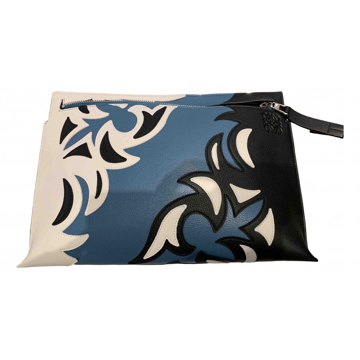 Loewe - Pochette T Pouch pour femme en cuir - bleu