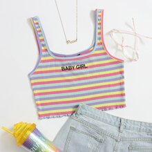 Letter Embroidered Lettuce Edge Striped Top