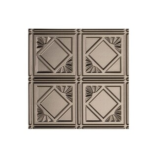 Fasade Traditional Style/Pattern #4 Decorative Vinyl 2ft x 4ft Glue Up Ceiling Tile in Brushed Nickel (5 Pack) (12x12 Inch Sample)