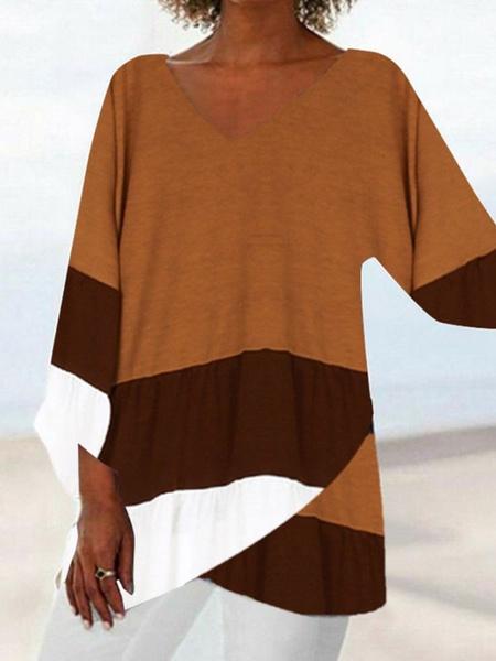 Milanoo Camisetas de manga larga para mujer con cuello en V Bloque de color negro con cuello joya Camiseta de poliester para mujer
