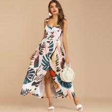 Maxi Kleid mit Blatt Muster und Knopfen