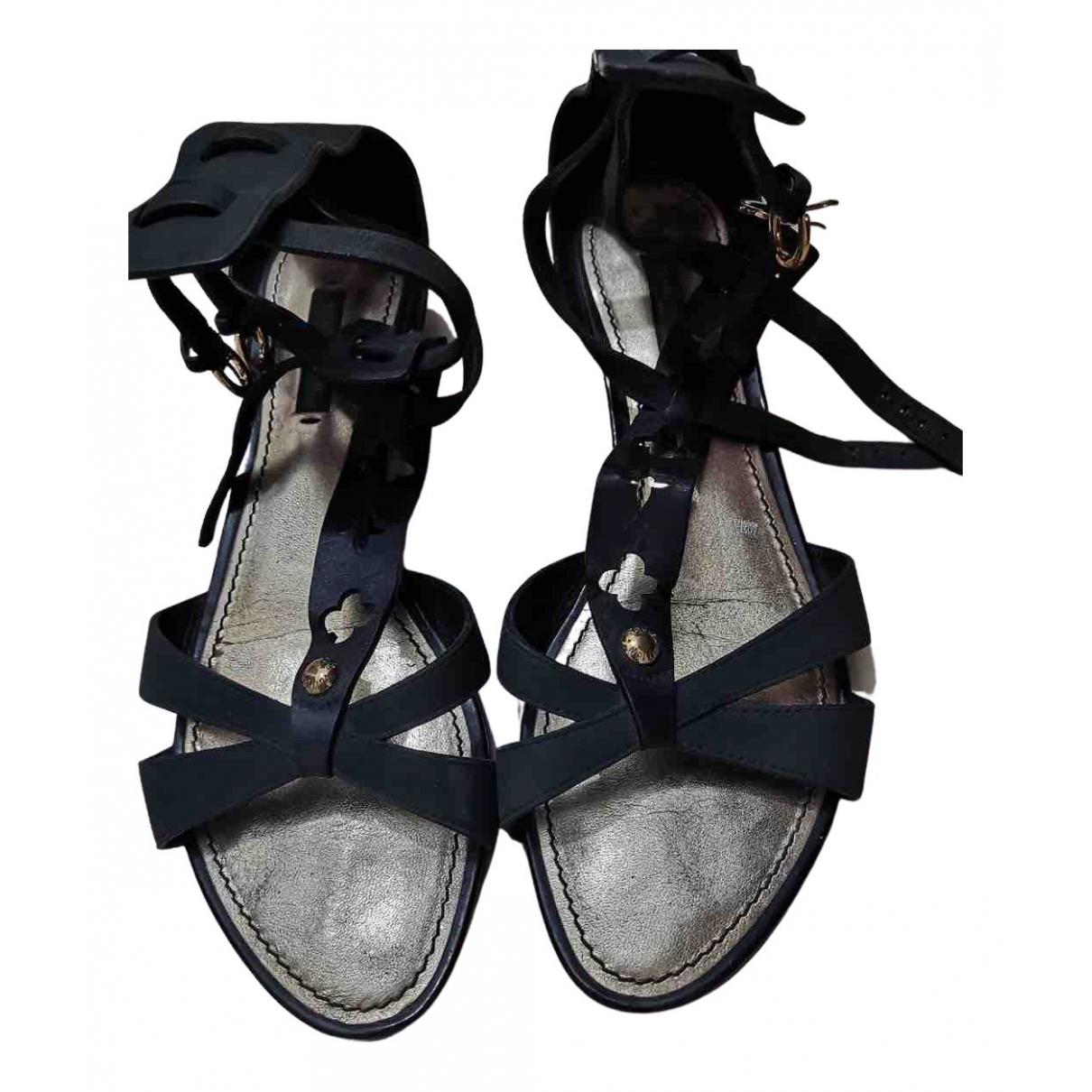 Louis Vuitton N Black Suede Sandals for Women 37 EU