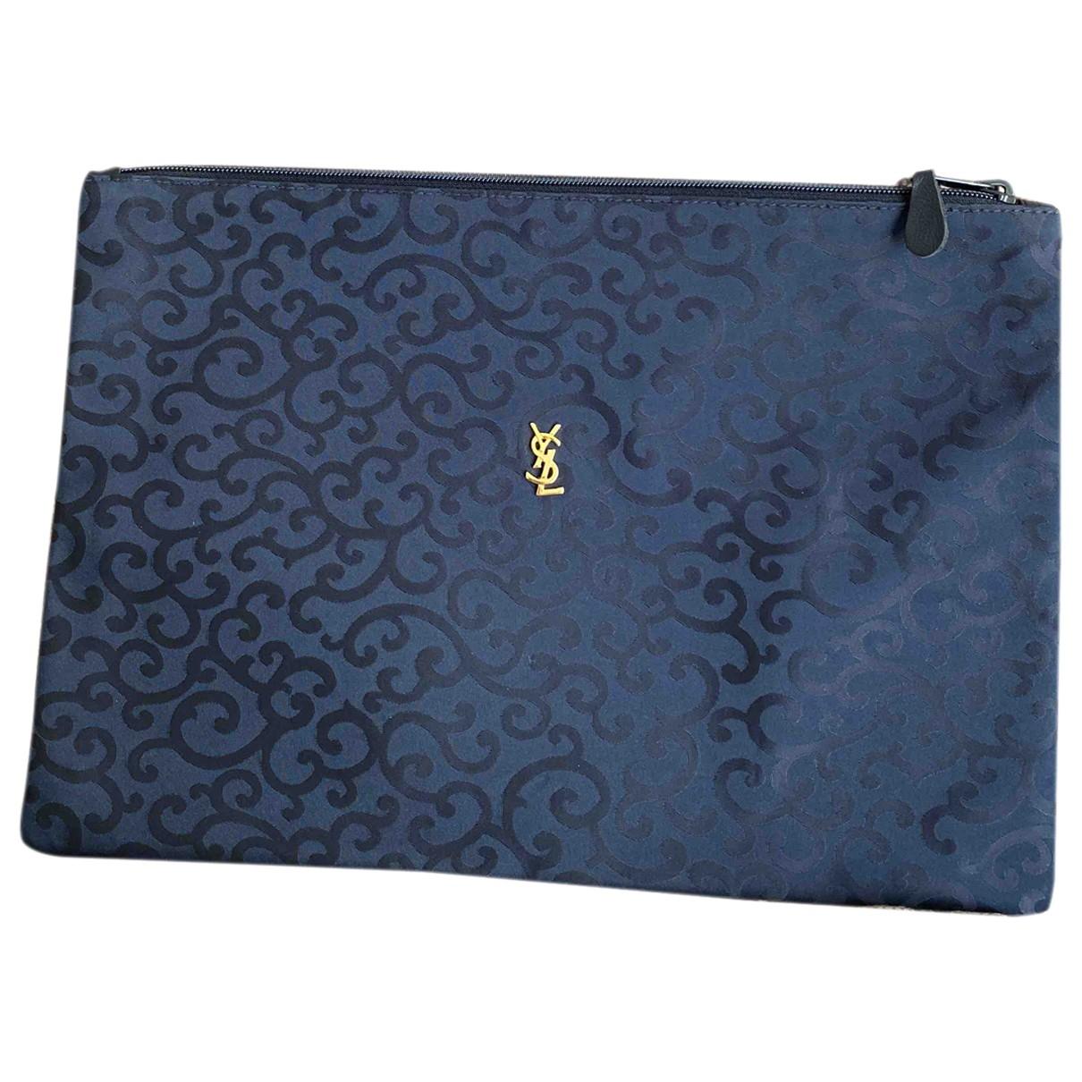 Yves Saint Laurent - Pochette   pour femme en soie - bleu