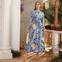 Floral Mock Neck Self Tie A-line Dress