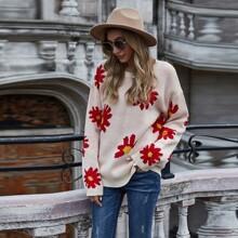 Drop Shoulder Floral Print Sweater