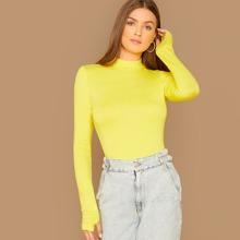 Neon Yellow Mock-neck Thumb Hole Tee