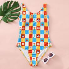 Cartoon & Plaid Print One Piece Swimsuit