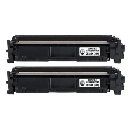Compatible HP 30X CF230X Black Toner Cartridge High Yield With Chip - Economical Box - 2/Pack