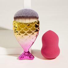 1 pieza cepillo de maquillaje con 1 pieza esponja de maquillaje