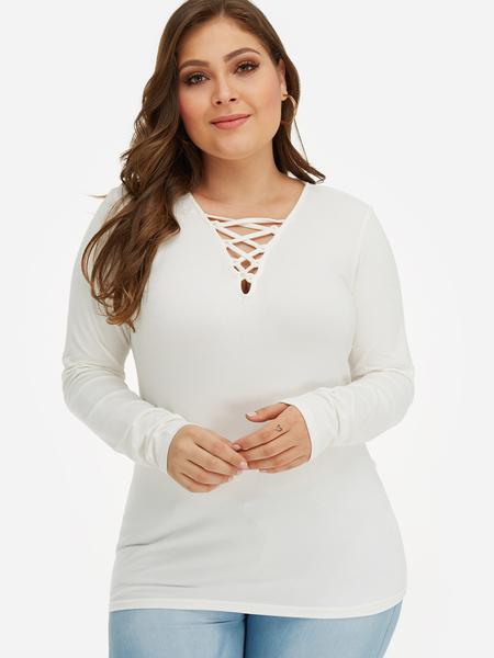 Yoins Plus Size White Criss-Cross T-Shirt