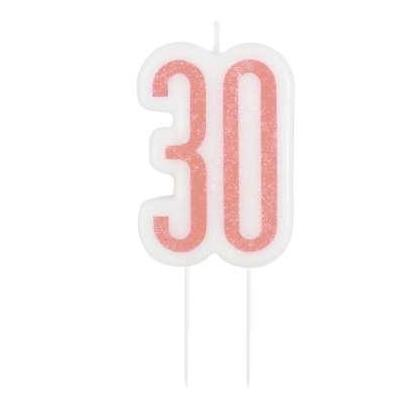 Glitz Rose Gold Numeral Birthday Candle - Age 30