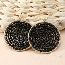 Bead Decor Round Charm Drop Earrings