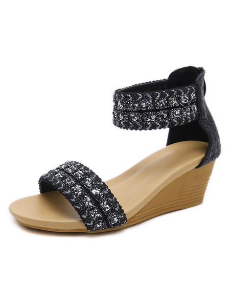 Milanoo Wedge Sandals For Women Modern Monk Strap Metallic PU Leather Breathable
