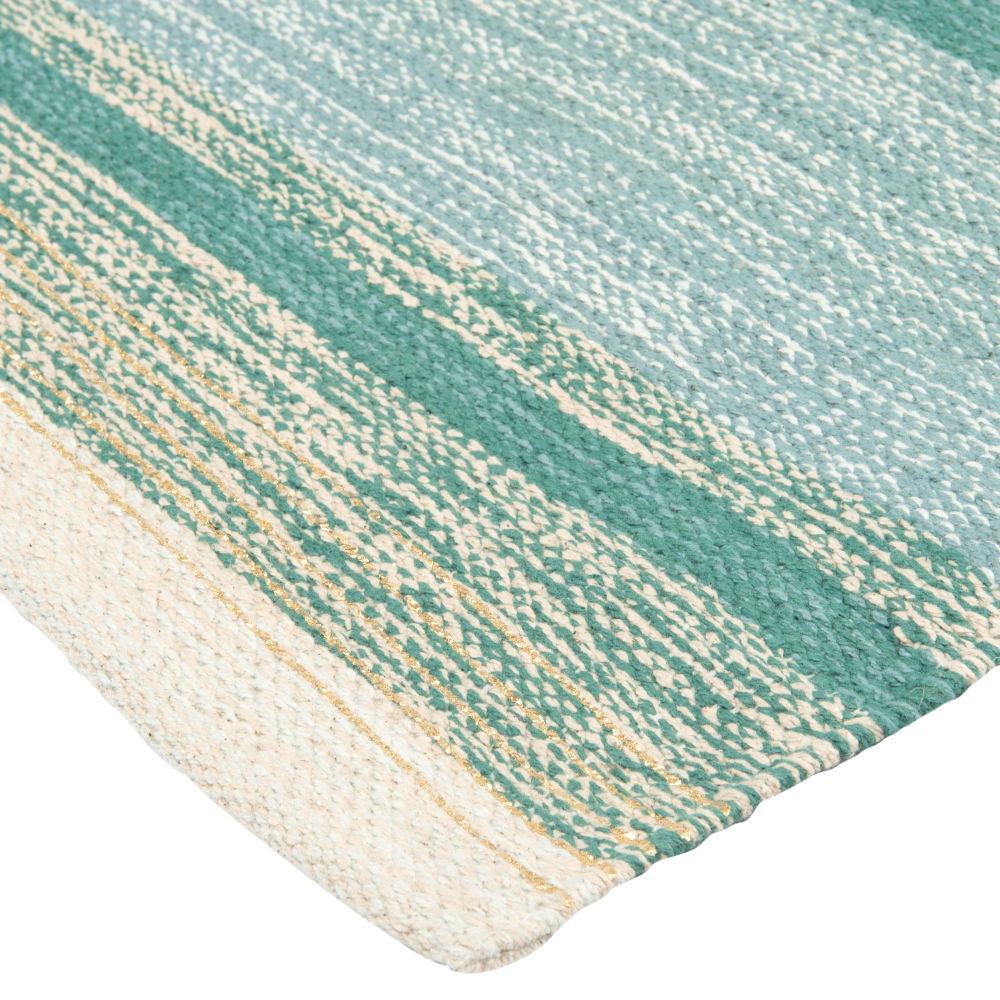 Baumwollteppich, handgewebt, gruen, blau und goldfarben 90x150