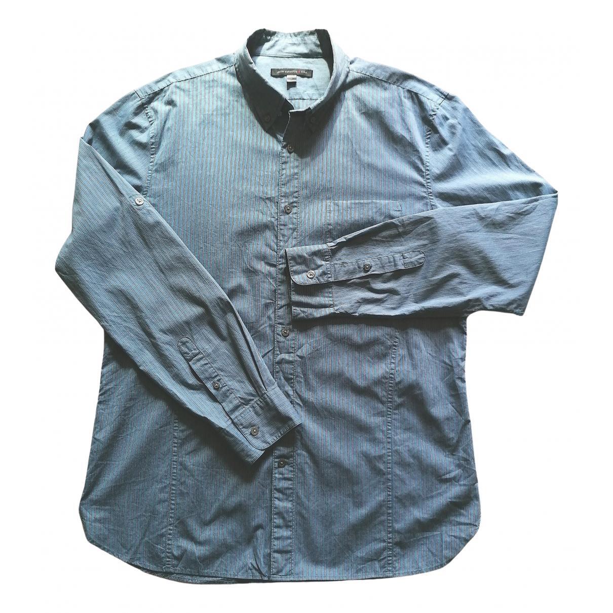John Varvatos - Chemises   pour homme en coton - bleu