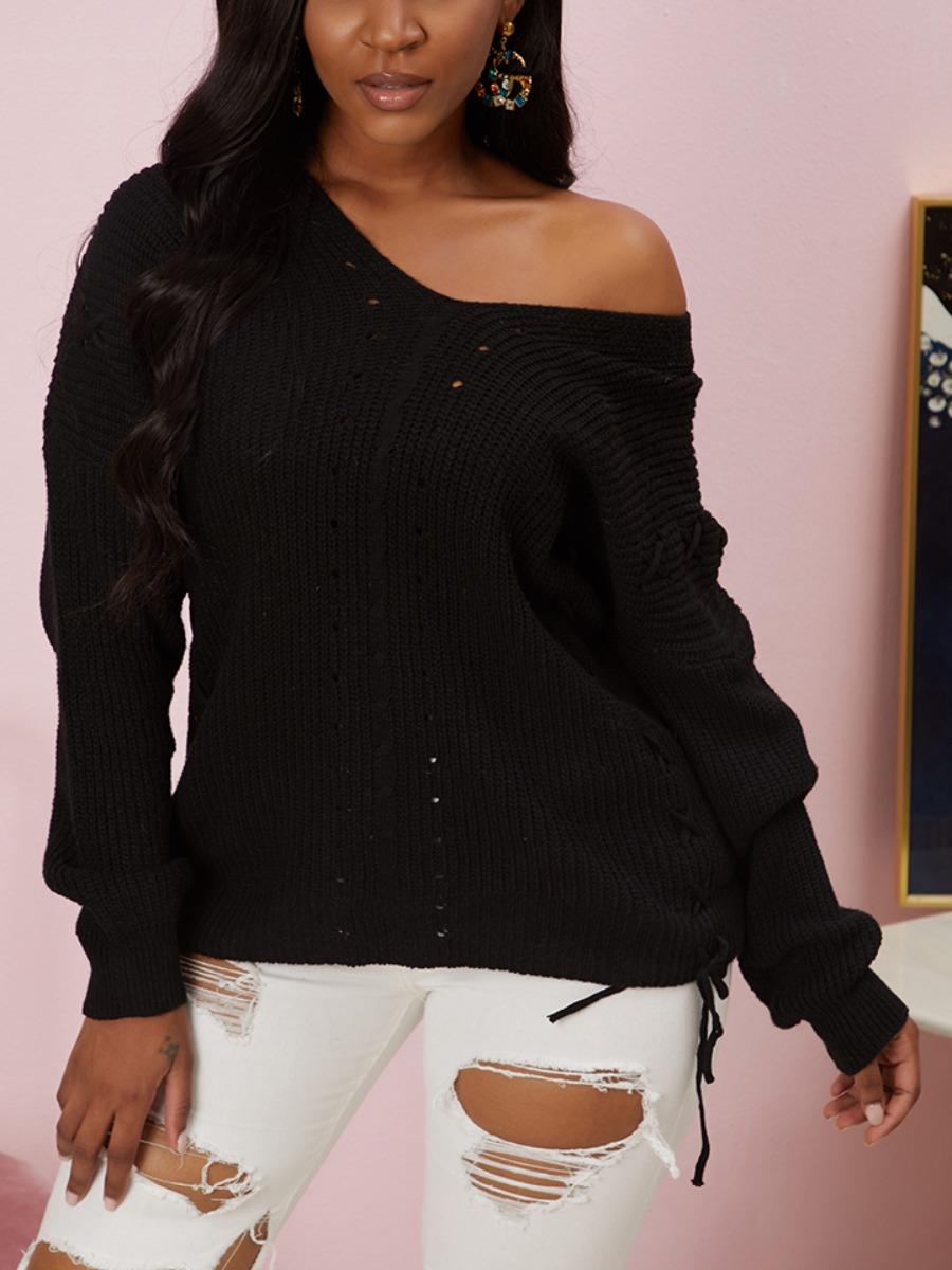 LW lovely Stylish V Neck Bandage Design Black Sweater