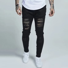 Men Solid Distressed Ripped Jeans