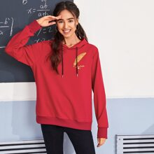 Feather And Letter Embroidery Drawstring Hoodie