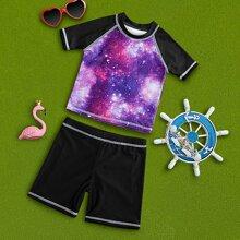 Toddler Boys Galaxy Print Swimsuit
