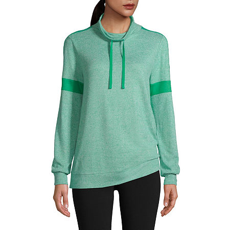St. John's Bay Womens Cowl Neck Long Sleeve Top, Petite Small , Green