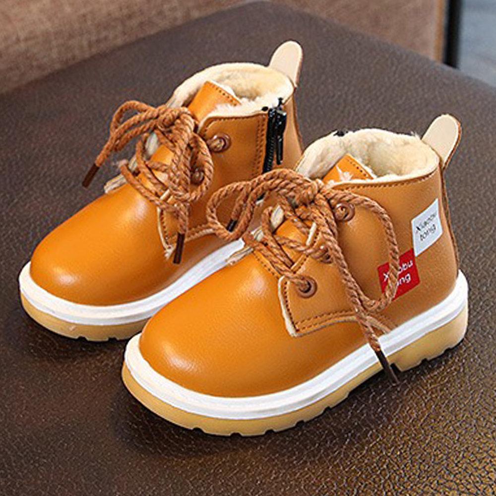 Boys Lace Up Decor Waterproof Zipper Martin Cotton Boots