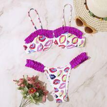 Mouth Print Frill Trim Underwire Bikini Swimsuit