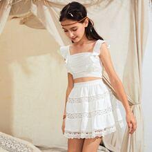 Girls Shirred Back Ruffle Detail Top & Guipure Lace Insert Skirt Set