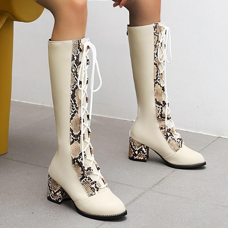 Ericdress Patchwork Back Zip Chunky Heel Western Boots