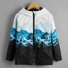 Jacke mit Reissverschluss vorn, Taschen Klappe und Landschaft Muster