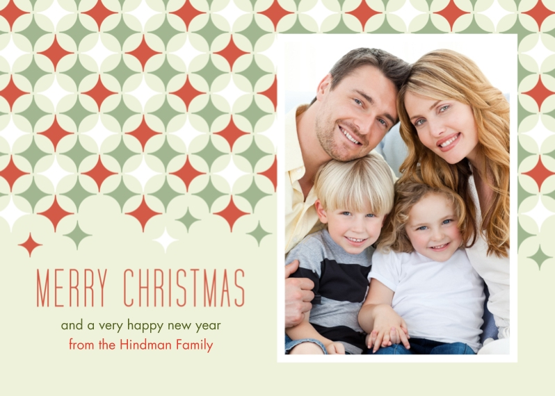 Christmas Photo Cards Flat Matte Photo Paper Cards with Envelopes, 5x7, Card & Stationery -Star Pattern Merry Christmas
