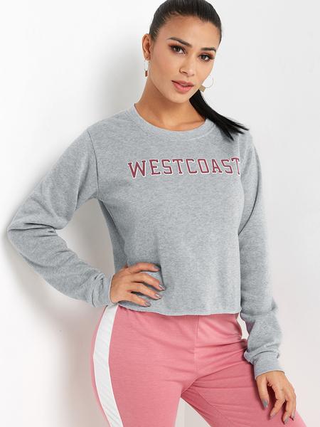 Yoins Grey Letter Print Pullover Long Sleeves Crop Sweatshirt