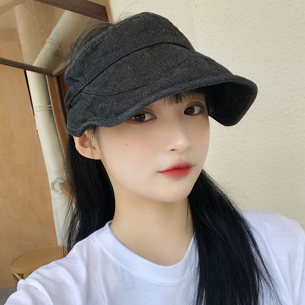 Washed Denim Top Hat Sun Protection Breathable Adjustable