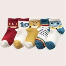 5pairs Toddler Girls Striped Pattern Socks