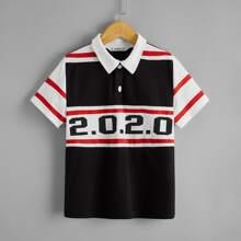 Polo Shirt mit Nummer Muster und Farbblock