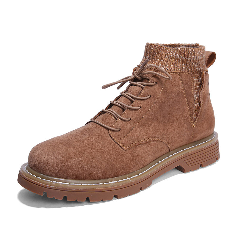 Men Outdoor Work Style Elastic Sock Slip On Comfort Casual Ankle Boots